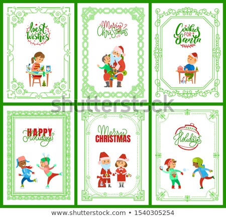 Best Wishes, Santa Claus with Kids on Laps Set Stock photo © robuart