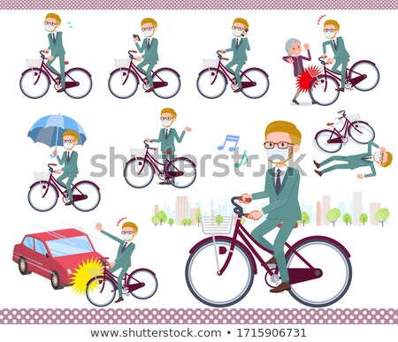 blond hair businessman_city cycle Stock photo © toyotoyo