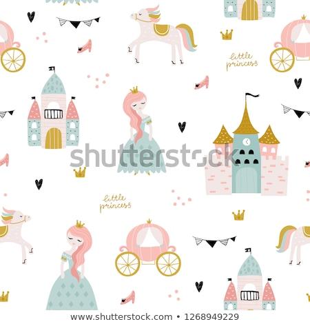 Princesa ilustración primer plano zapatos castillo corona Foto stock © colematt