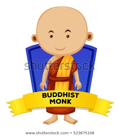 budist · keşiş · mutlu · karikatür · ayakta · gülen - stok fotoğraf © colematt