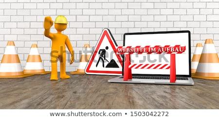баннер · ноутбук · текста · 3d · иллюстрации · компьютер · строительство - Сток-фото © limbi007