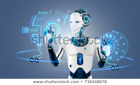 Humanoid Robot Hand Button Stock photo © limbi007