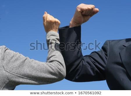 Együtt kéz idős nyugdíjas férfi felső Stock fotó © pressmaster