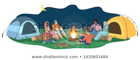 Camping, Campfire and Tent, Friends with Guitar Stock photo © robuart
