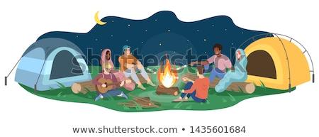 Camping kampvuur tent vrienden gitaar Stockfoto © robuart