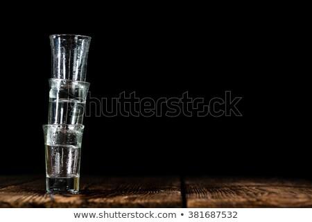 Shot occhiali ghiaccio tavolo in legno alimentare bere Foto d'archivio © Alex9500