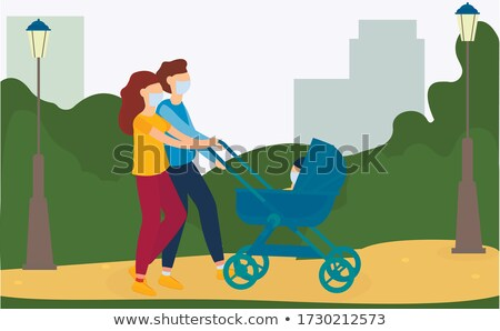 Stock photo: Man and Woman Driving or Going in Park Vector