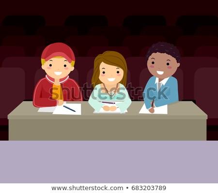 Stickman Teens Audition Judges Illustration Stock photo © lenm