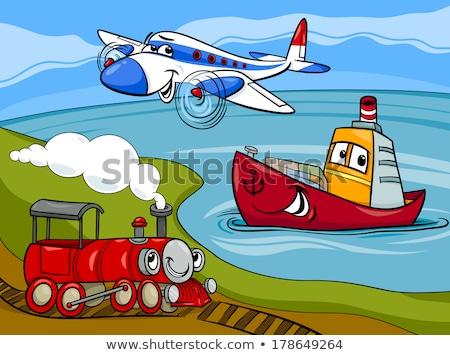 漫画 · 機関車 · エンジン · 文字 · 実例 · 面白い - ストックフォト © izakowski