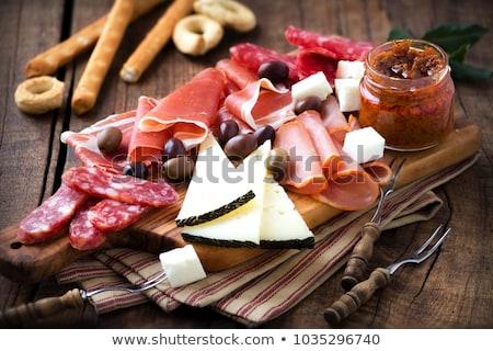 Fromages salami variété froid bois saucisses Photo stock © mythja