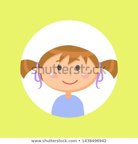 Iskolás lány póni gyermek lány avatar kislány Stock fotó © robuart