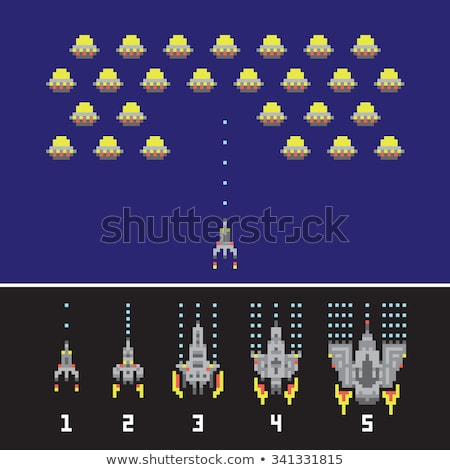 retro spaceship pixel art game rocket at night stock photo © robuart