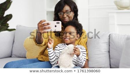 Apa baba lánygyermek elvesz otthon család Stock fotó © dolgachov