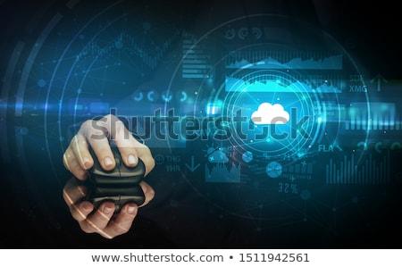 Stock fotó: Kéz · egeret · használ · felhő · technológia · drótnélküli · egér