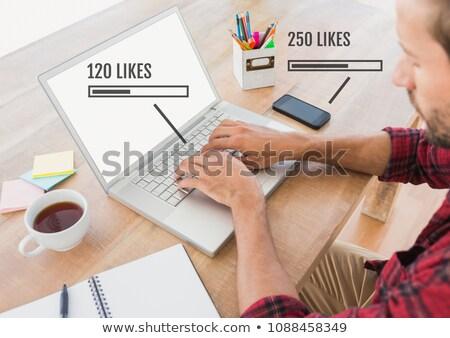 Férfi laptop állapot rácsok telefon digitális kompozit Stock fotó © wavebreak_media