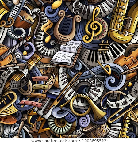 Stock photo: Cartoon cute doodles Classical music seamless pattern