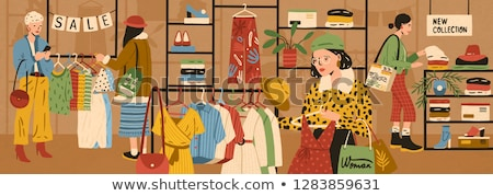 People Buying Products and Clothes, Retail Vector Stock photo © robuart