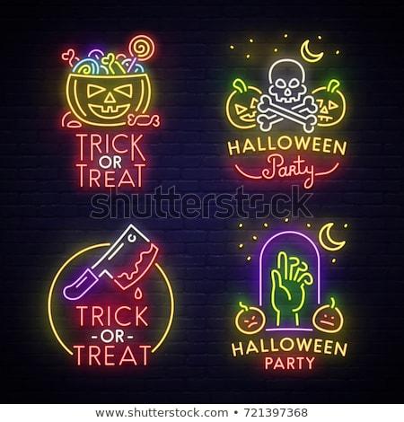 Halloween parti neon kafatasları siyah tebrik kartı Stok fotoğraf © Voysla