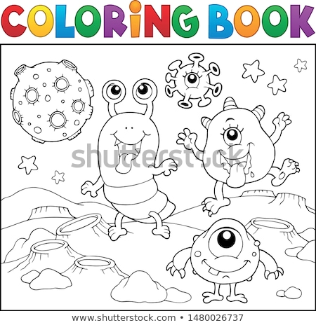 Coloring book monsters in space theme 2 Stock photo © clairev