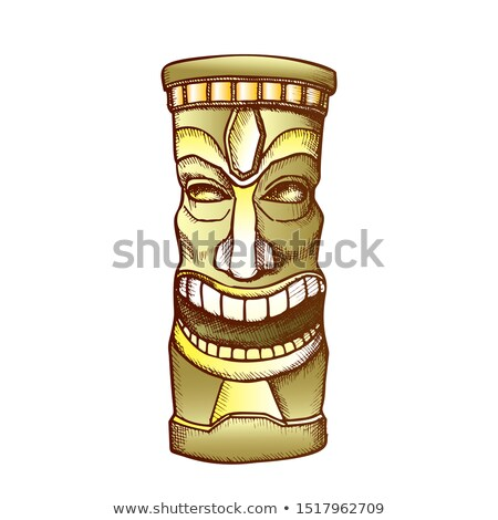 Tiki Idol Carved Wooden Laughing Totem Color Vector Stock photo © pikepicture