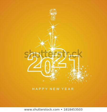 Happy New Year 2020 logo with numbers and yellow abstract beams Stock photo © ussr