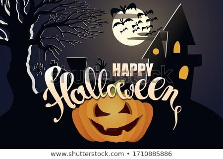 flat style halloweeb orange banner with scary house stock photo © sarts