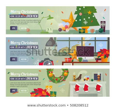 Christmas horizontal banner, header for website. Holiday background, design with realistic gift boxe Stock photo © ikopylov