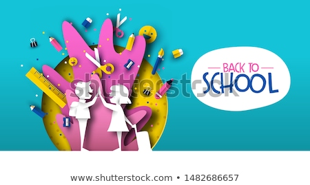 Stockfoto: Back To School Papercut Kid Friends And Supplies