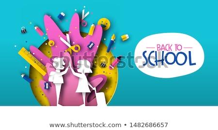 Stockfoto: Terug · naar · school · kid · vrienden · kaart · illustratie