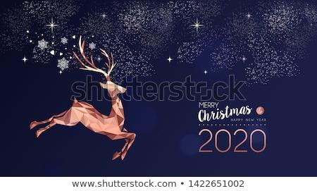 Karácsony új év kártya réz szarvas vidám Stock fotó © cienpies
