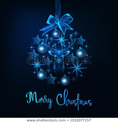クリスマス グリーティングカード 安物の宝石 星 鹿 頭 ストックフォト © inkoly