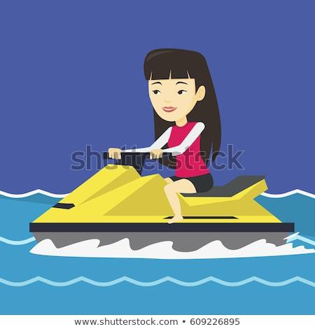 Young asian woman on jet ski Stock photo © dash