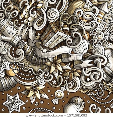 Cartoon cute bazgroły szczęśliwego nowego roku monochromatyczny ramki Zdjęcia stock © balabolka