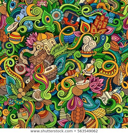 Cartoon cute doodles hand drawn India illustration Stock photo © balabolka