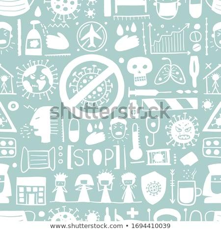 Influenza orvosi végtelen minta vektor vékony vonal Stock fotó © pikepicture