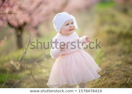 Weinig prinses roze jurk frisse lucht Stockfoto © ElenaBatkova