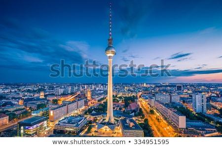 Híres televízió torony Berlin alkonyat mozgás Stock fotó © elxeneize