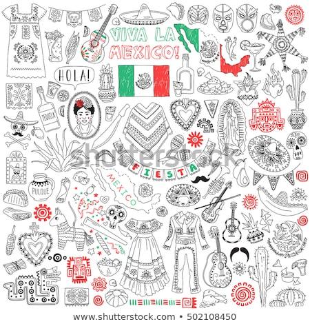 Mexican bandiera mano bianco città sfondo Foto d'archivio © butenkow