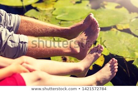 Nagyapa unoka láb folyó család generáció Stock fotó © dolgachov