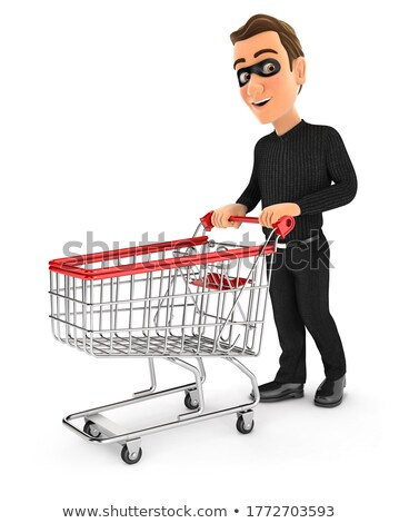 3d thief pushing supermarket trolley Stock photo © 3dmask