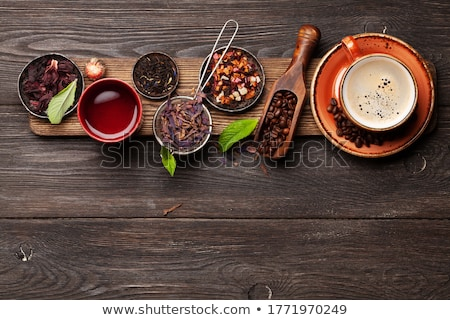 Bitkisel çaylar espresso kahve ahşap masa bo Stok fotoğraf © karandaev