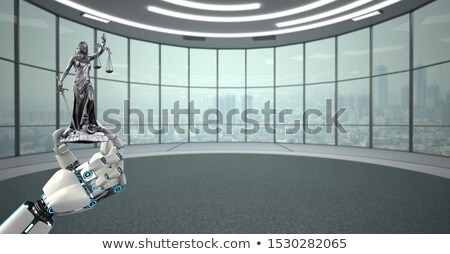 Humanoid Robot Hand Lady Justice Statue City Stock photo © limbi007