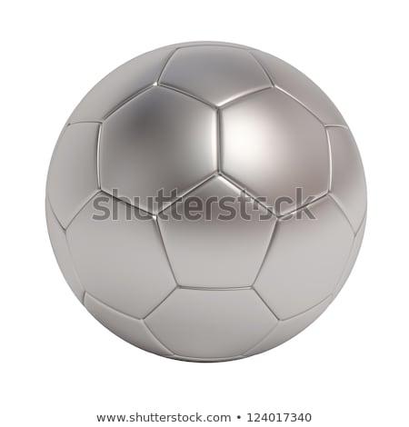 Foto stock: Golden Silver And Bronze Soccer Balls On White