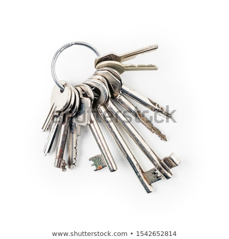 Köteg kulcsok öreg kulcstartó fehér fém Stock fotó © joker