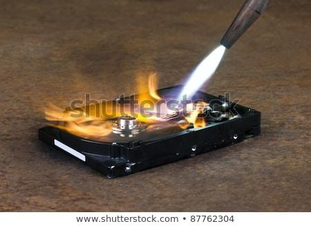 Lassen harde schijf schild computer werknemer elektriciteit Stockfoto © gewoldi