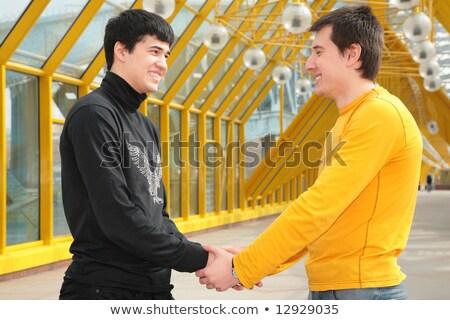 два друзей пешеходный мост здании город стекла Сток-фото © Paha_L