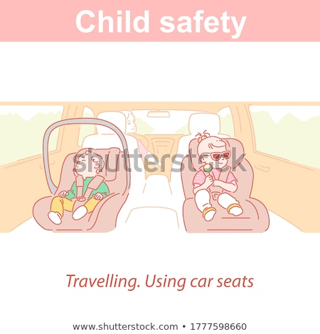 little girl standing in car seat Stock photo © phbcz