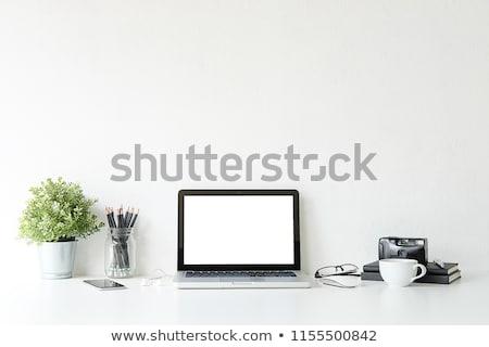 Notebooka filiżankę kawy odizolowany działalności tekstury Zdjęcia stock © Archipoch