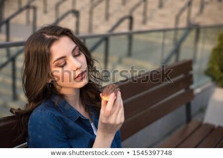 ritratto · giovani · pretty · woman · seduta · panchina · estate - foto d'archivio © HASLOO