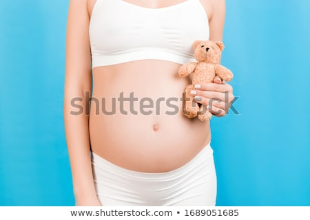 woman wearing underwear with teddy bear Stock photo © phbcz